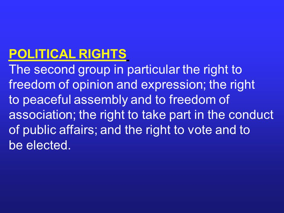 POLITICAL RIGHTS The second group in particular the right to freedom of opinion and expression; the right to peaceful assembly and to freedom of.