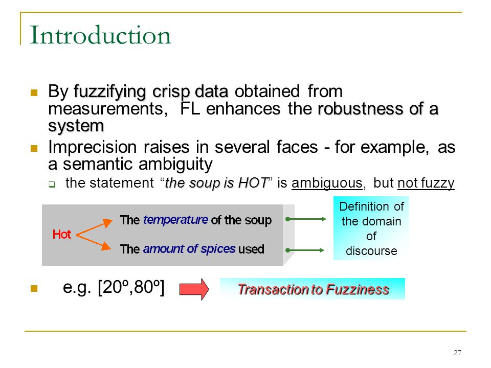 Introduction By fuzzifying crisp data obtained from measurements, FL enhances the robustness of a system.