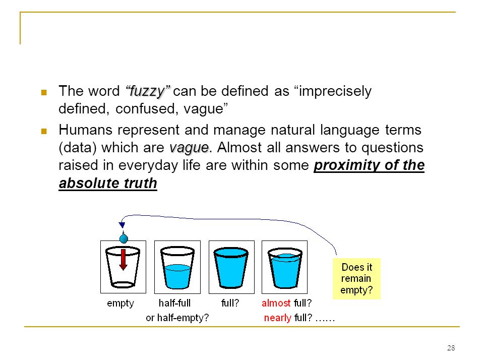 The word fuzzy can be defined as imprecisely defined, confused, vague