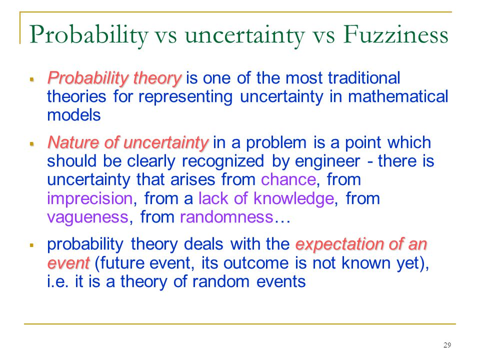 Probability vs uncertainty vs Fuzziness