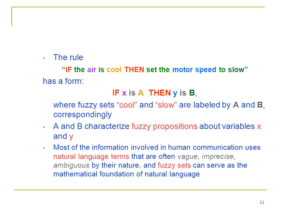 IF the air is cool THEN set the motor speed to slow