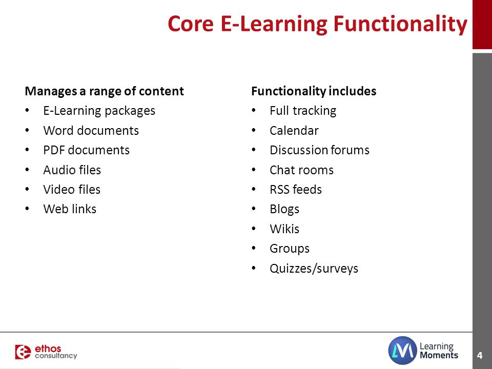 Core E-Learning Functionality