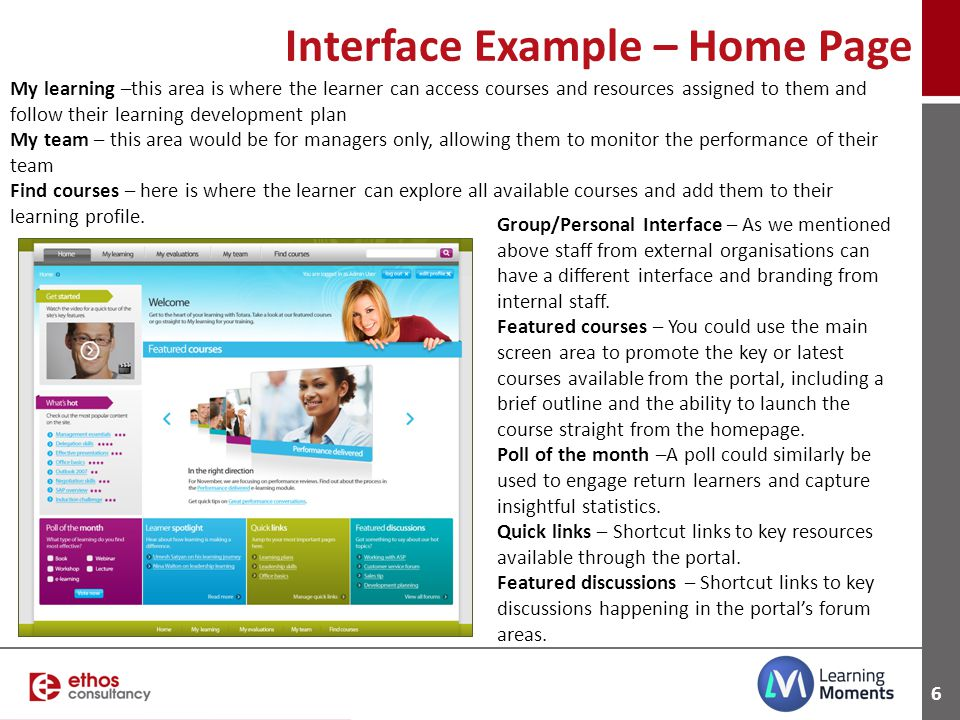 Interface Example – Home Page