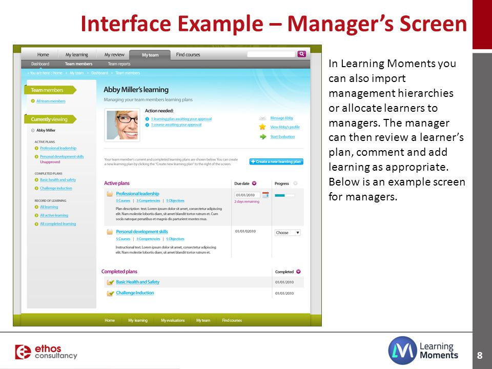 Interface Example – Manager's Screen