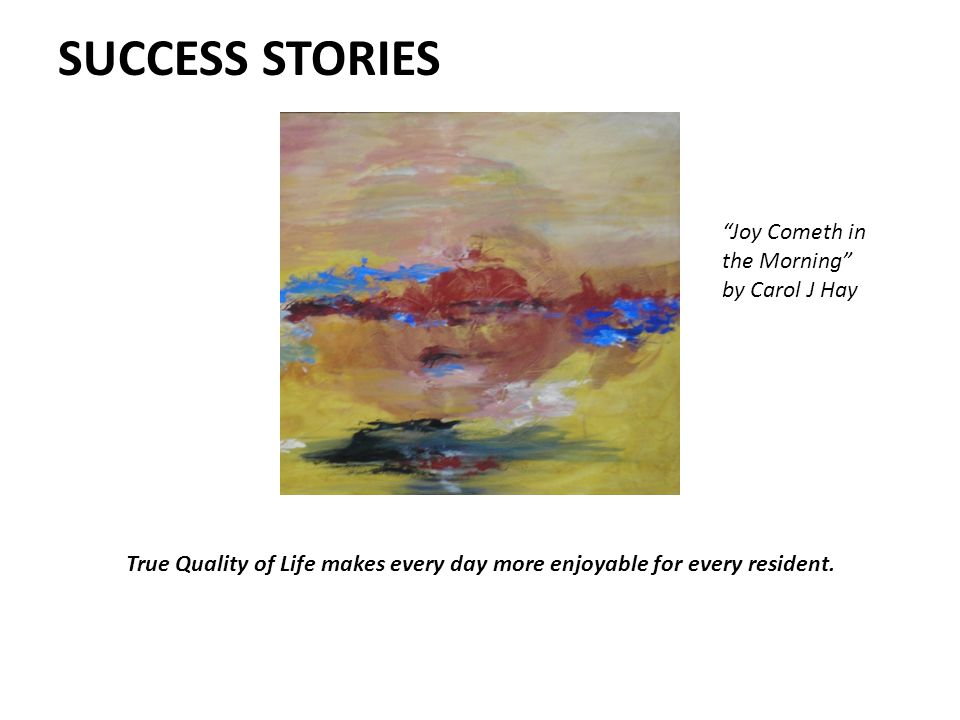 SUCCESS STORIES Joy Cometh in the Morning by Carol J Hay