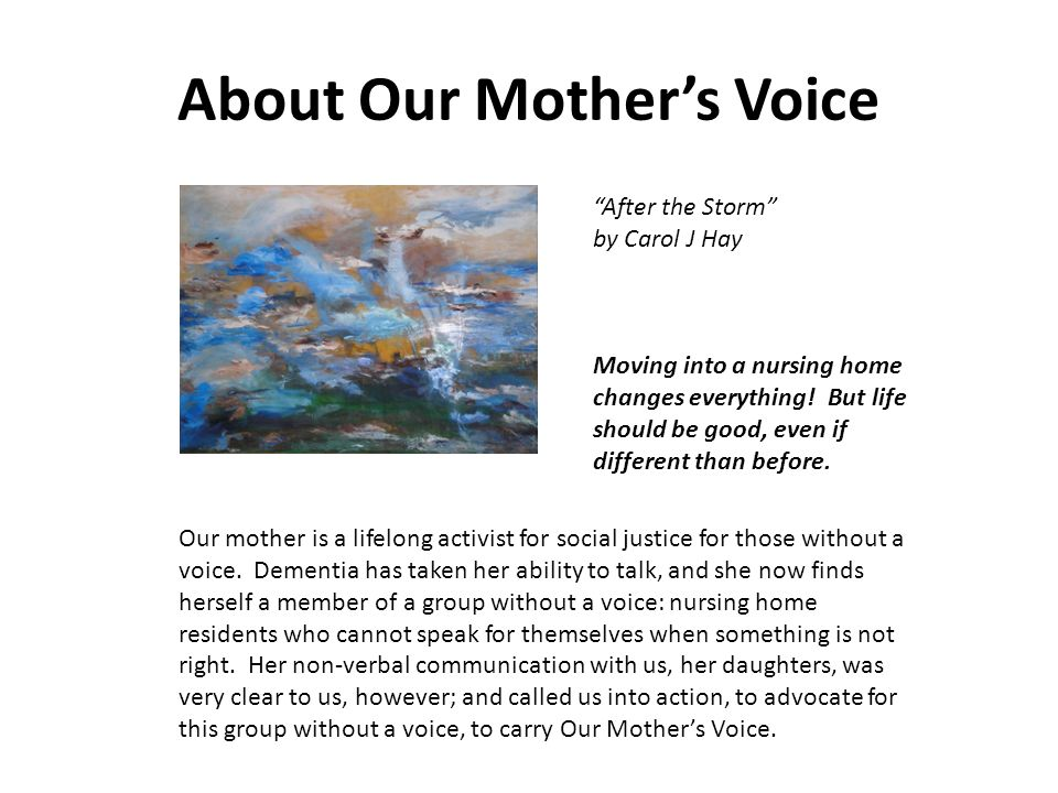 About Our Mother's Voice
