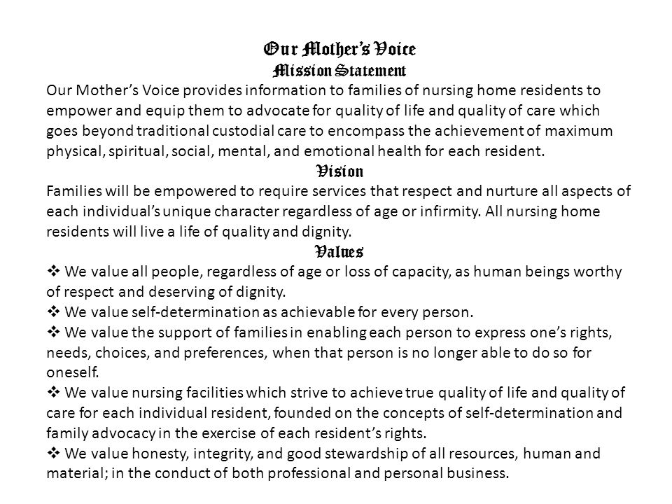 Our Mother's Voice Mission Statement