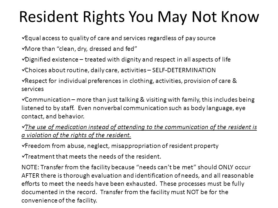 Resident Rights You May Not Know
