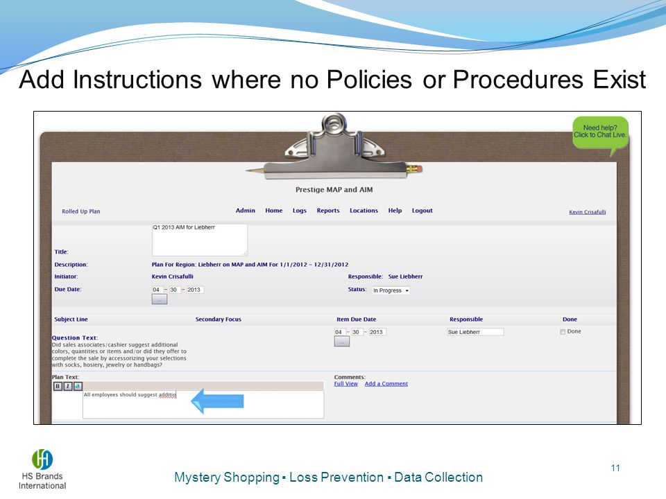 Add Instructions where no Policies or Procedures Exist