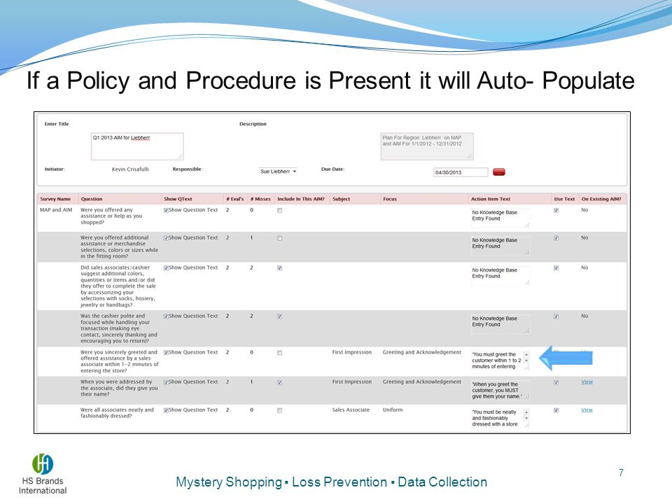 If a Policy and Procedure is Present it will Auto- Populate