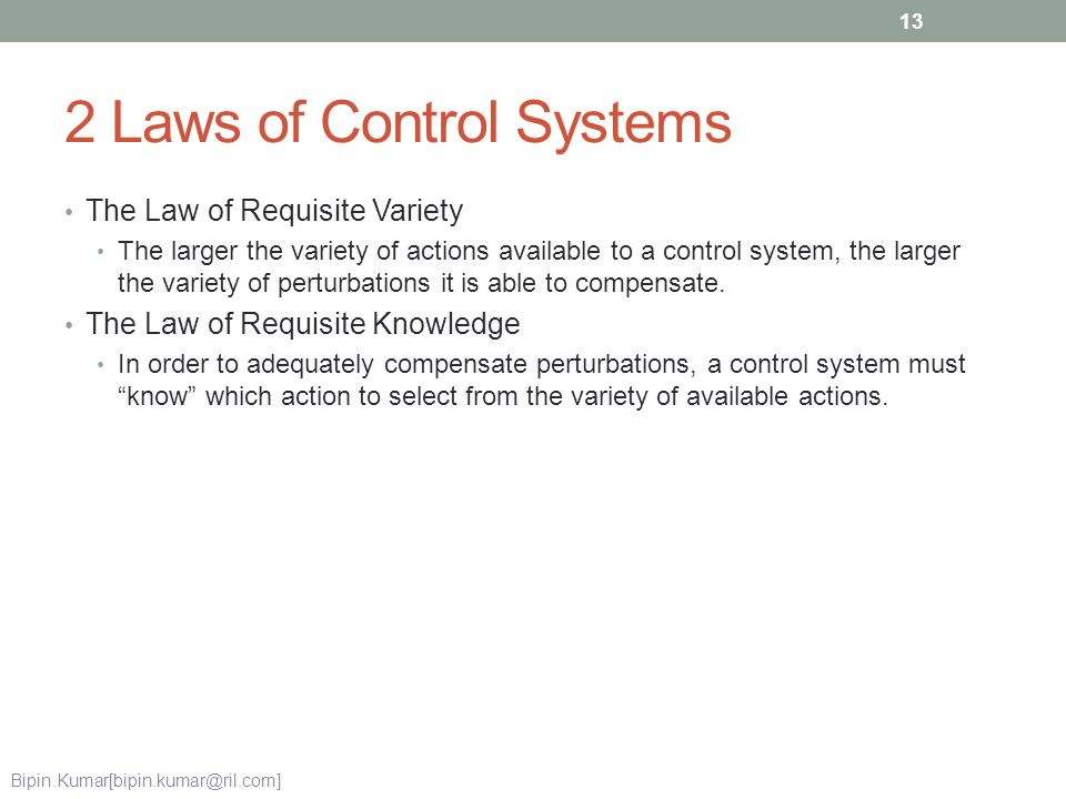 2 Laws of Control Systems