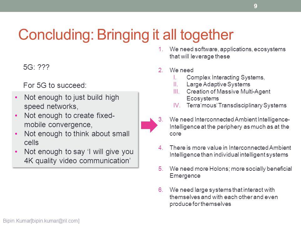 Concluding: Bringing it all together