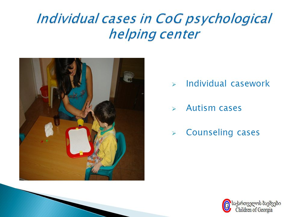 Individual cases in CoG psychological helping center