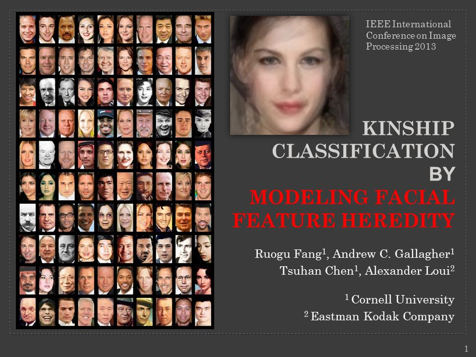 KINSHIP CLASSIFICATION BY MODELING FACIAL FEATURE HEREDITY