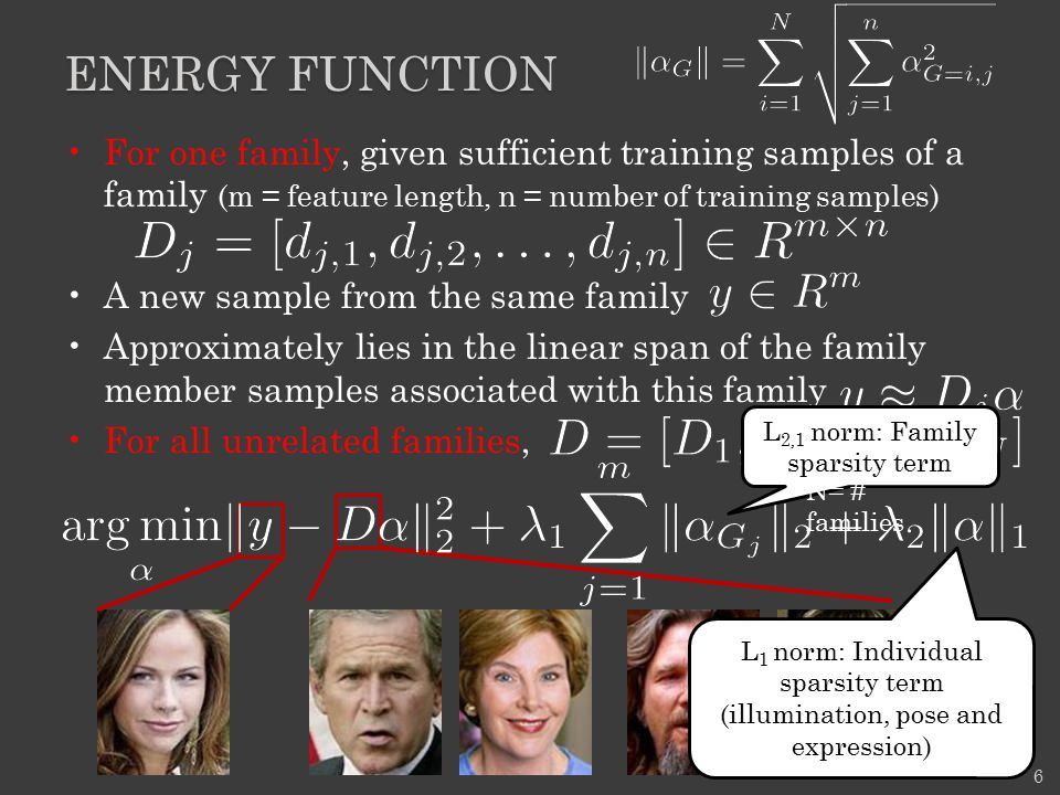 Energy function For one family, given sufficient training samples of a family (m = feature length, n = number of training samples)