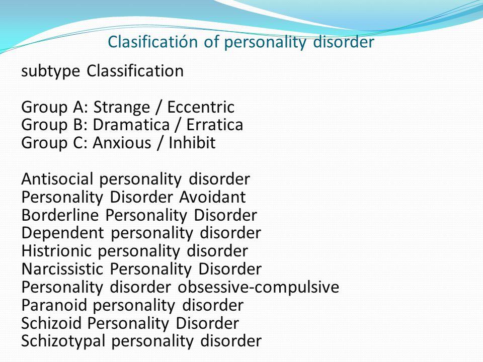 Clasificatión of personality disorder