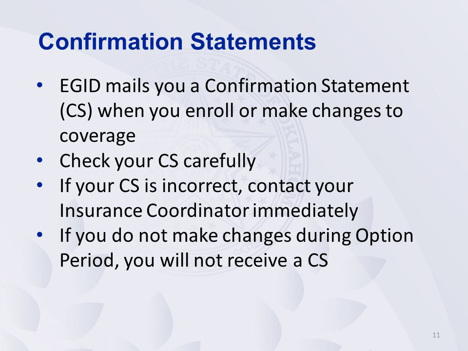 Confirmation Statements