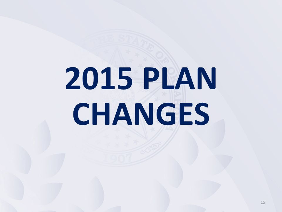 2015 PLAN CHANGES