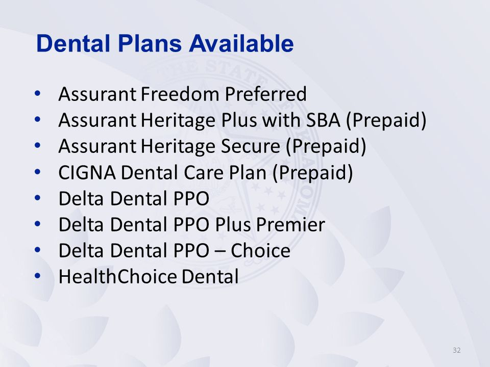 Dental Plans Available