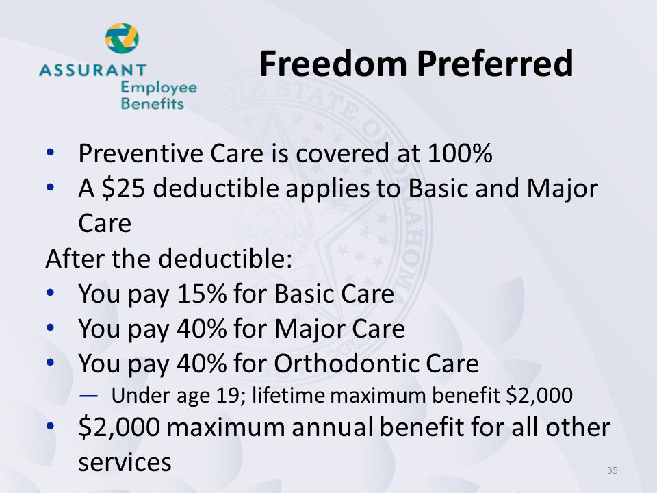 Freedom Preferred Preventive Care is covered at 100%