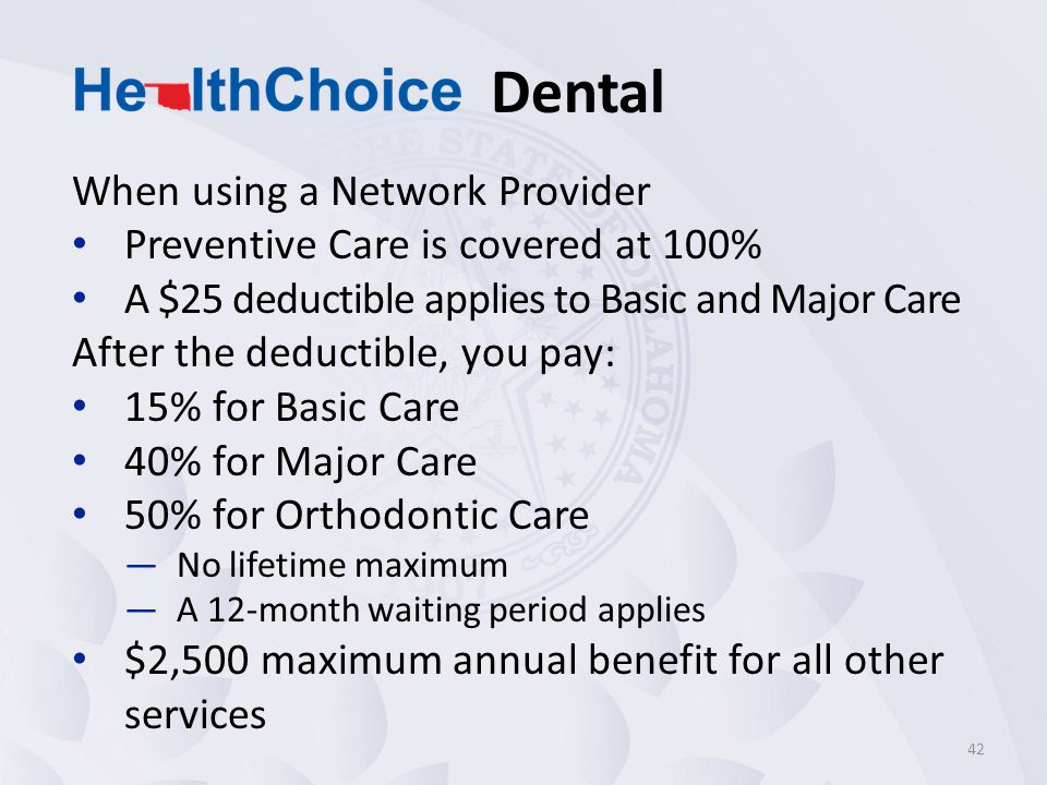 Dental When using a Network Provider