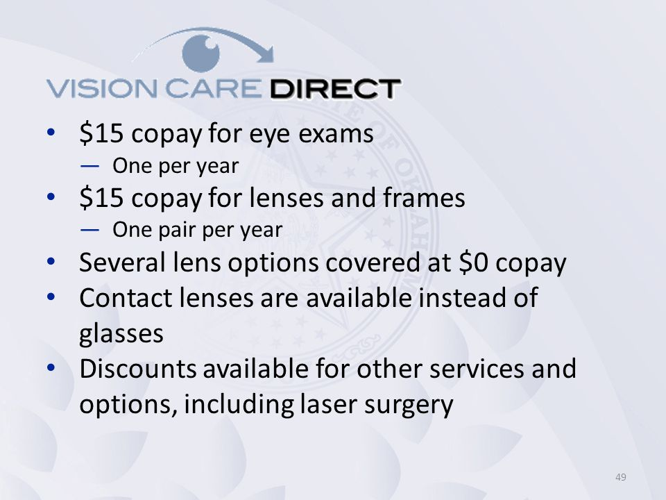 $15 copay for lenses and frames