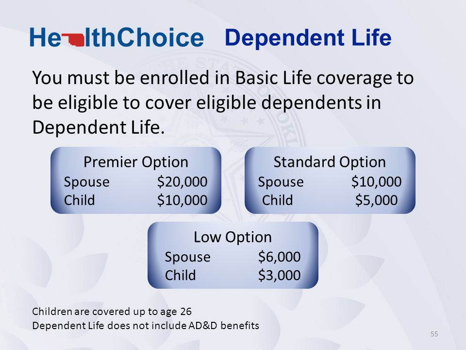 Dependent Life You must be enrolled in Basic Life coverage to be eligible to cover eligible dependents in Dependent Life.