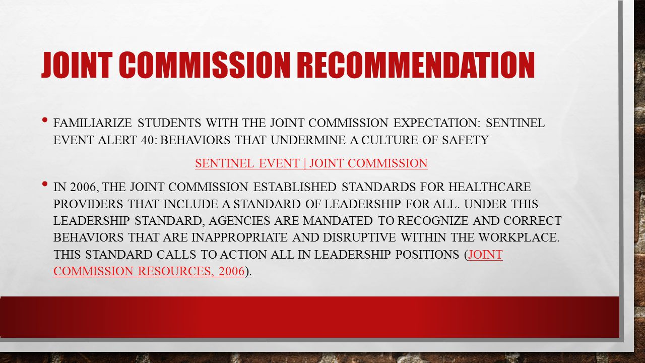 Joint commission recommendation