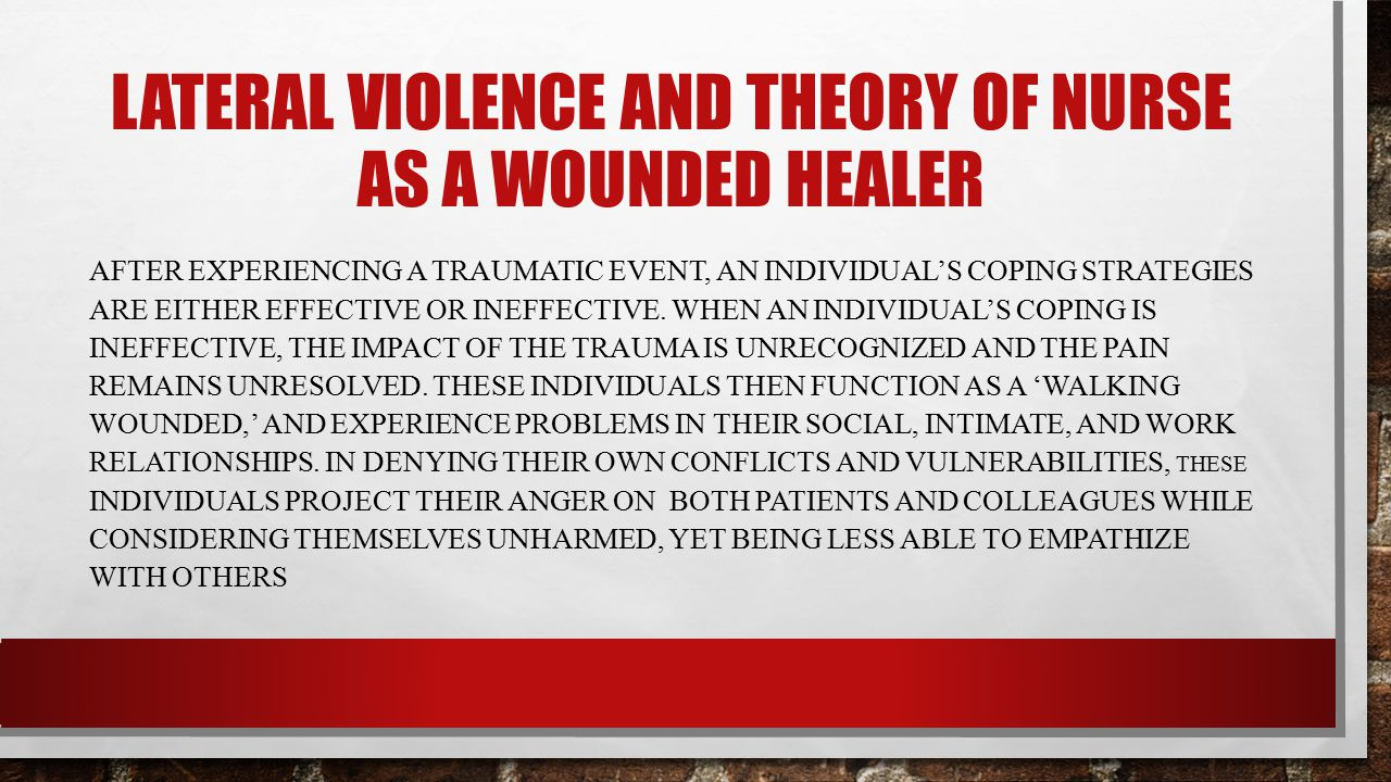 Lateral violence and theory of nurse as a wounded healer
