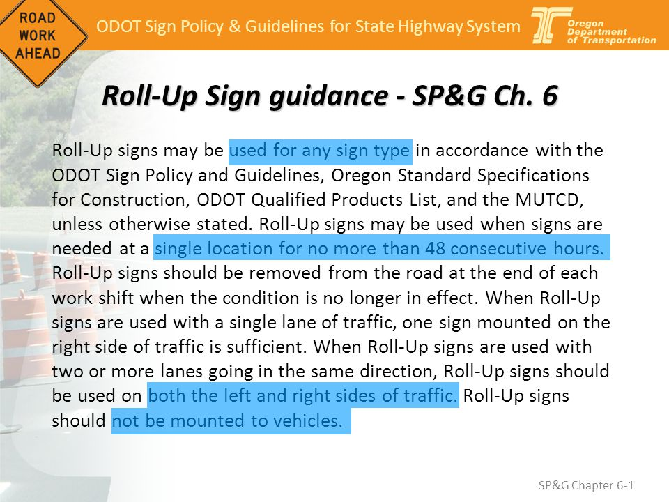 Roll-Up Sign guidance - SP&G Ch. 6