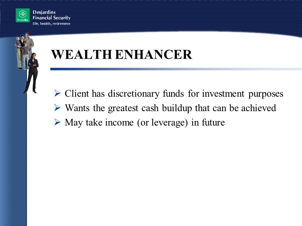 WEALTH ENHANCER Client has discretionary funds for investment purposes