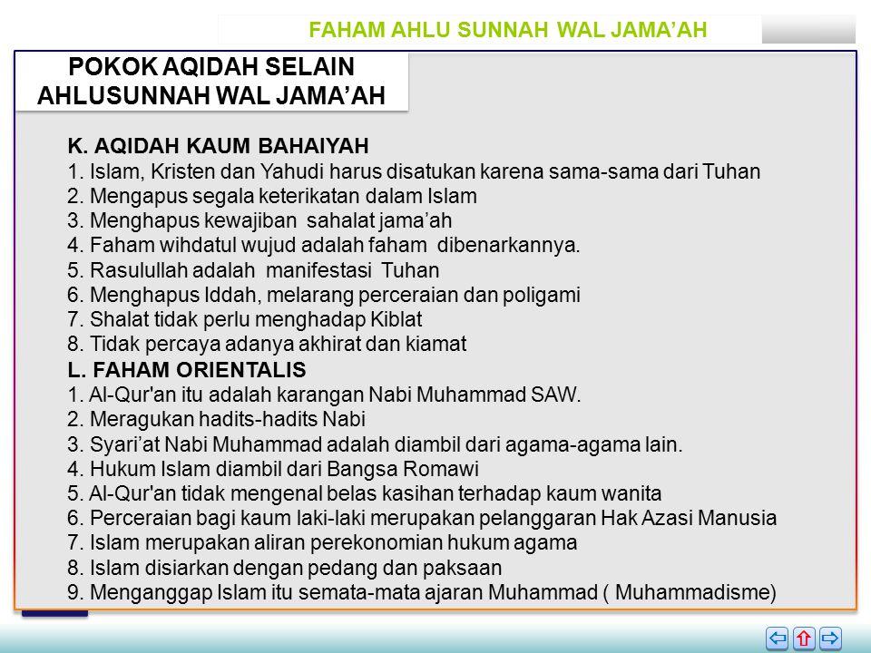 POKOK AQIDAH SELAIN AHLUSUNNAH WAL JAMA'AH