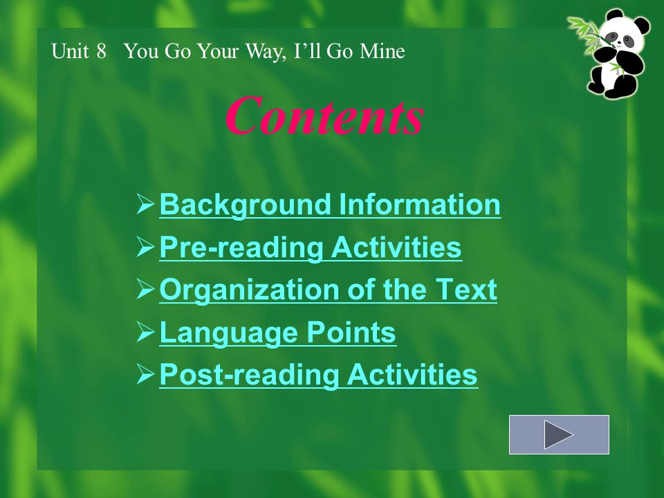 Contents Background Information Pre-reading Activities