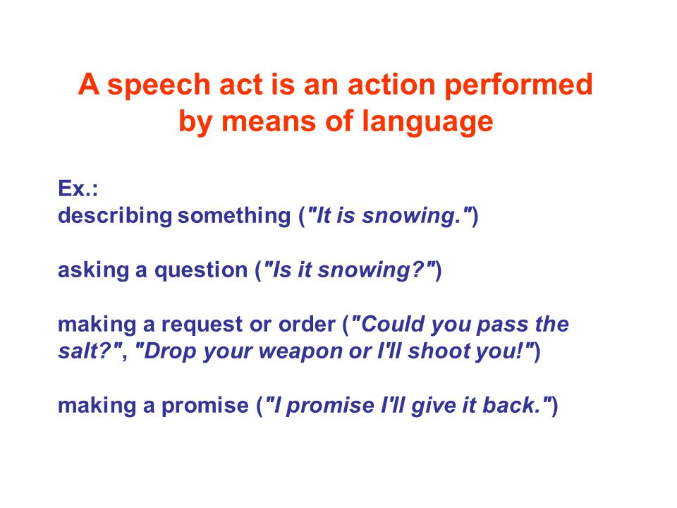 A speech act is an action performed by means of language