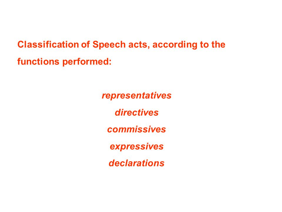 Classification of Speech acts, according to the