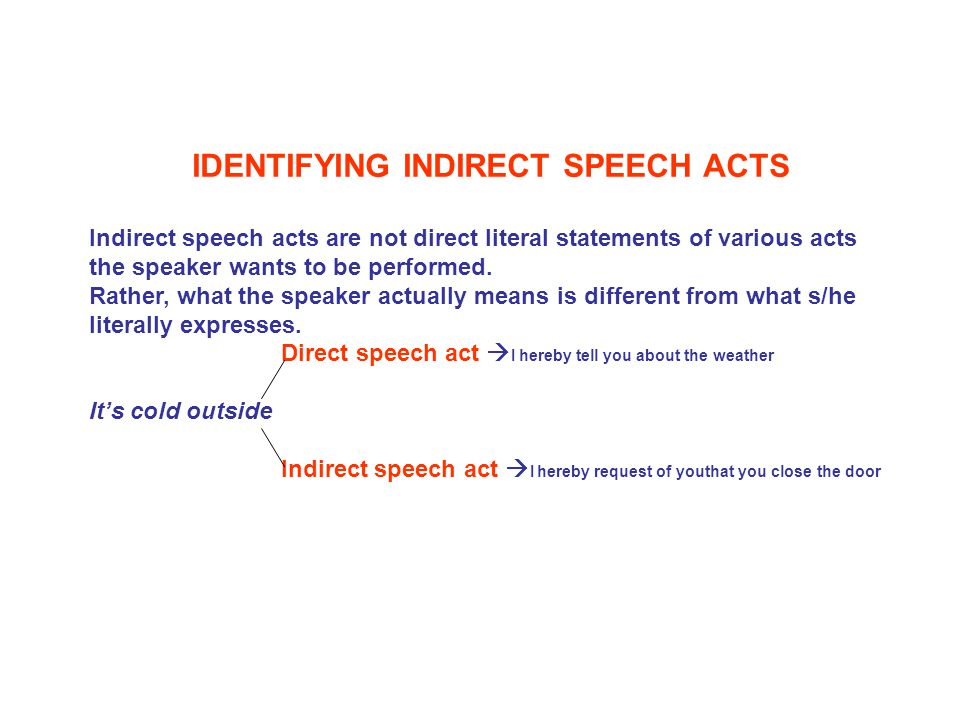 IDENTIFYING INDIRECT SPEECH ACTS