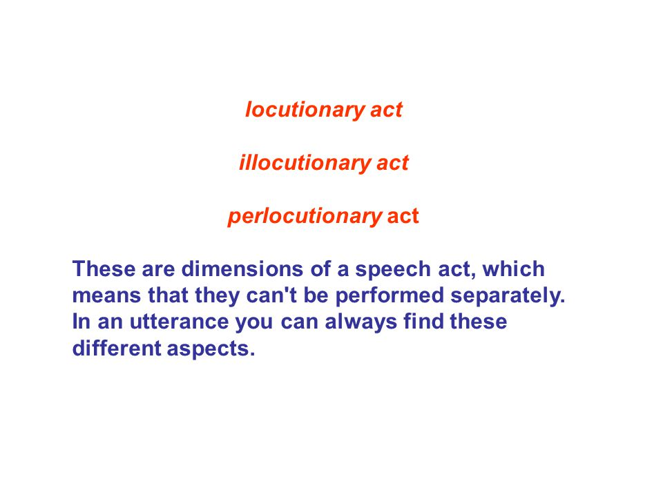 locutionary act illocutionary act. perlocutionary act.