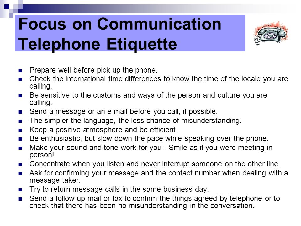 Focus on Communication Telephone Etiquette
