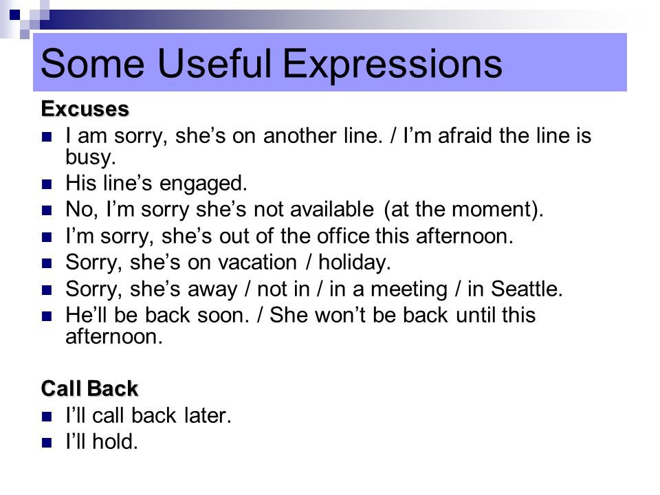 Some Useful Expressions