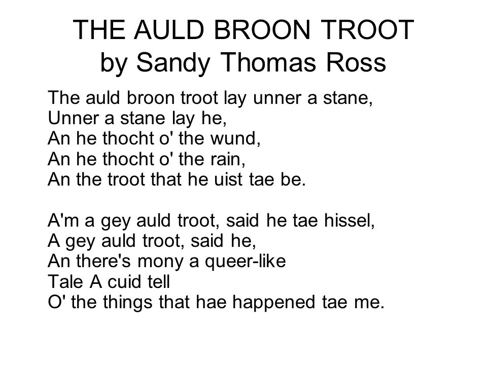 THE AULD BROON TROOT by Sandy Thomas Ross