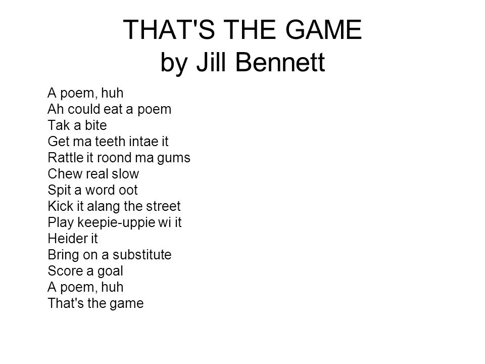 THAT S THE GAME by Jill Bennett
