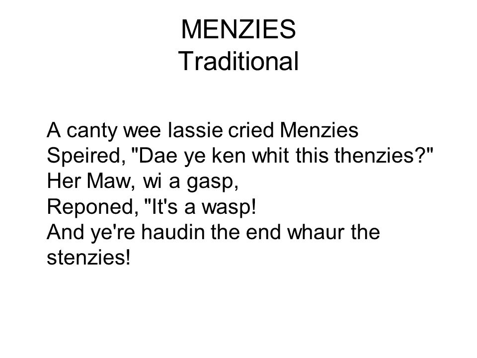 MENZIES Traditional