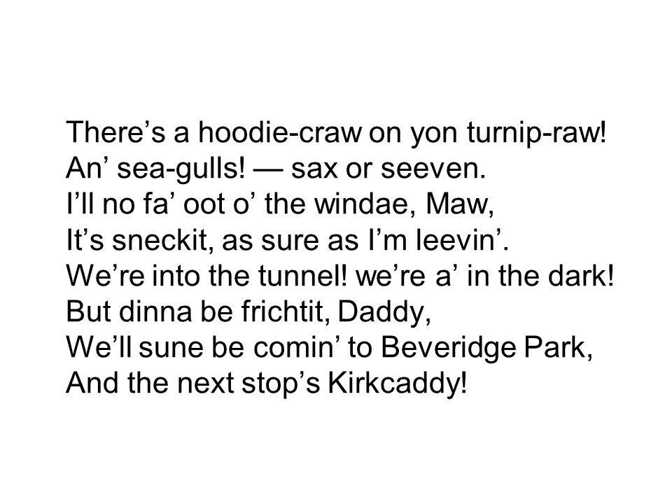 There's a hoodie-craw on yon turnip-raw! An' sea-gulls.