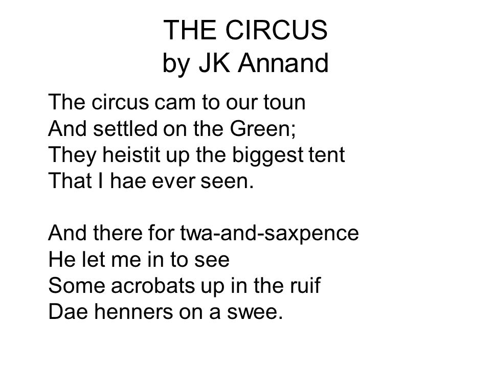 THE CIRCUS by JK Annand