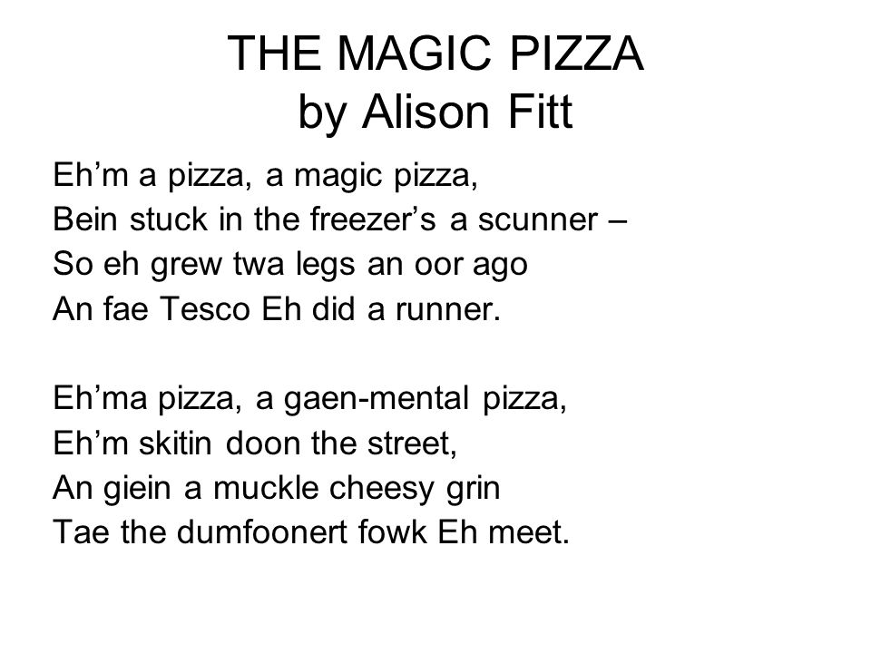 THE MAGIC PIZZA by Alison Fitt