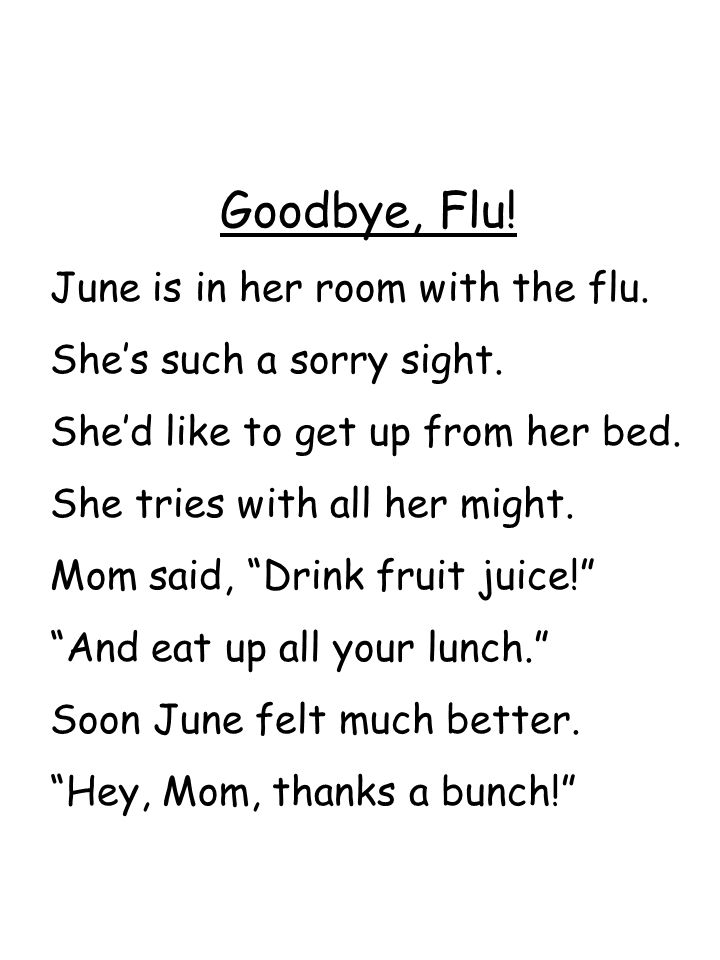 Goodbye, Flu! June is in her room with the flu.