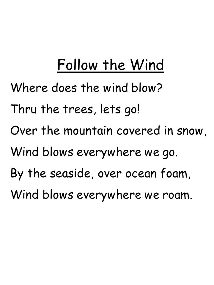 Follow the Wind Where does the wind blow Thru the trees, lets go!