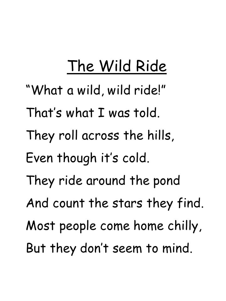 The Wild Ride What a wild, wild ride! That's what I was told.