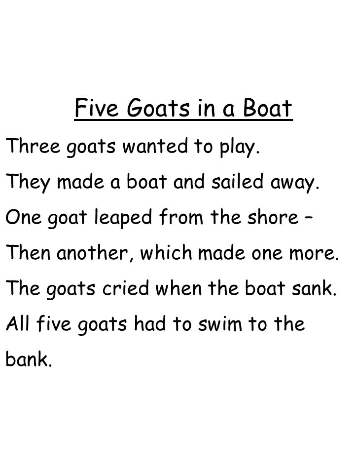 Five Goats in a Boat Three goats wanted to play.
