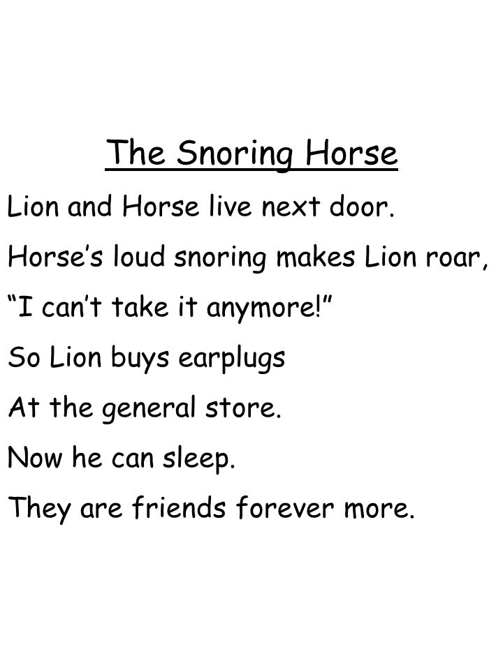 The Snoring Horse Lion and Horse live next door.